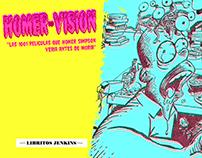Portada, lámina y postales fanzine HOMER-VISIÓN