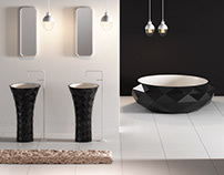 Triangle freestanding washbasin and bathtube T2