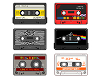 pixel art cassette tapes