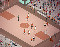 Basketball Game Isometric Illustration