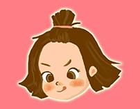 女孩與紮人偶-人物插畫創作