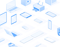 isometric vector collection - devices. Sketch app