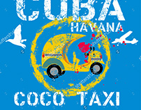 Cuba Coco taxi graphic design vector art