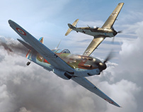 Aerojournal cover illustration - Dewoitine vs BF109