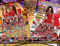 NYE Fire Ball All Red And Sexy New Years Eve Flyer