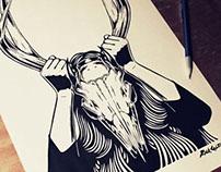Girl w/ Deer Skull