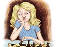 Ronia playing chess