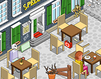 How not to run a restaurant (isometric vector)