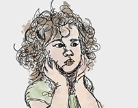 continuous line drawing of a child