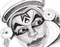Pencil Illustration of South Indian Dancer
