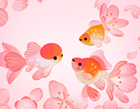 Goldfish and spring flowers