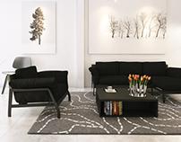 Black - white living room!