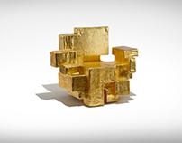 PRIMITIVE GOLD ARMCHAIR