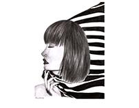 Ilustração de retrato a grafite