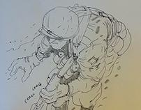 Sketching paratrooper timelapse.