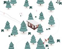 Christmas Cabin - Isometric Illustration