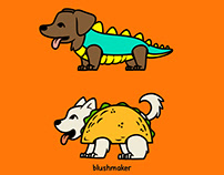 Halloween Costumed Kids and Pets