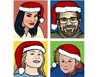 Family Cartoon Christmas Card Commission