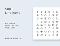 500+ Line Icons Pack - modern & simple