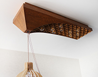Waffle curved ceiling light