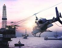 Baku oil rig platforms