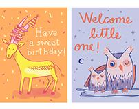Animals greeting cards