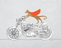 El Gato Loco Motorcycle Art Print