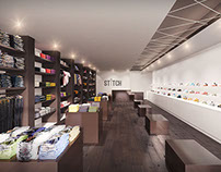 Stitch Shoe Store Retail Interior 3D Rendering