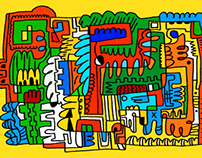 Doodle with colour and various of line