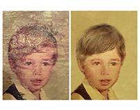 Restoration of a photograph of a boy