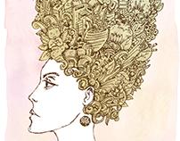 Mujer con peinado alto y moño azul.