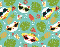 Summer Cat Pattern design