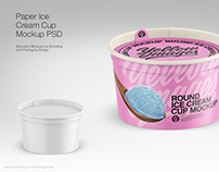 Paper Ice Cream Cup PSD Mockups
