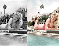 Dolores Moran poolside at The Beverly Hills Hotel,1948.