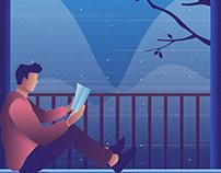 Reading A Book Illustration 01