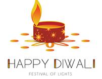 Diwali Lamp vector template