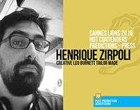 Henrique Zirpoli - Predictions Cannes 2016 - Press