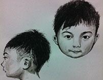 Portrait Exercise Using Chopstick,Finger & black paint