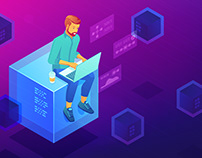 Blockchain development isometric concepts
