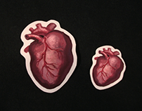 Heart stickers and fridge magnets