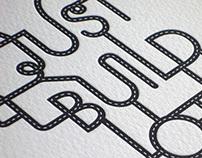 'National Solutions' roadwork letterpress print