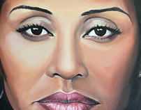 Oil painting Portrait of Kimberley Motley 80 x 60 cm