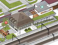 Railway station + surroundings
