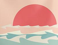 Sunrise over sea minimalism