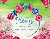 Peony green Watercolor png
