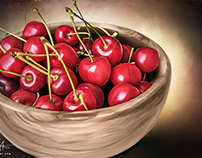"""Cherry Bowl"" Digital Oil Painting by Wayne Flint"