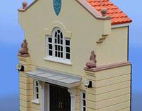 St. Edmunds Hall facade model