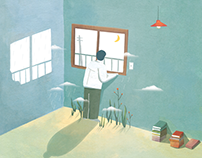 poem, illustration 윤동주, 돌아와 보는 밤
