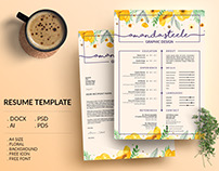 Floral Resume Template / CV Template/ Letterhead/