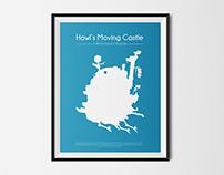 Hayao Miyazaki-Howl's Moving Castle minimal poster